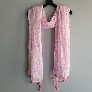 NEW-CHAN LUU Neon Pink Scarf with tassel trim